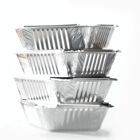 Stack Of Foil Take Away Containers photo