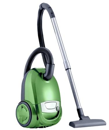 personal de limpieza: Aspiradora aislado en el fondo blanco Foto de archivo