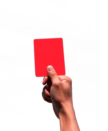 Hand holding a red card isolated on white background Stock Photo - 12017130