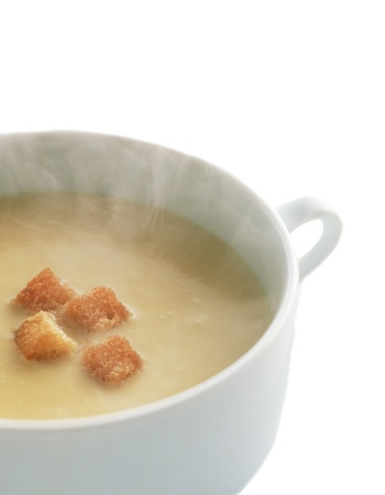 bred: Lentil cream soup with dry bred crumbs Stock Photo