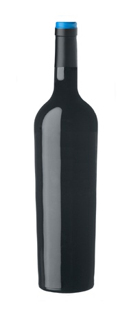 Red wine bottle isolated on white background photo