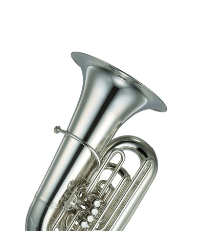 Large silver brass tuba on white background photo