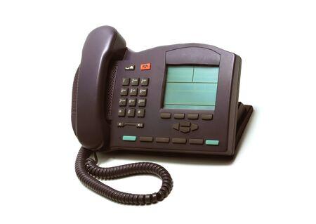 landlines: Office phone isolated on white Stock Photo