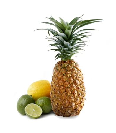 Pineapple and kiwi fruits isolated on white background photo