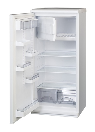 The image of open refrigerator under the white background photo