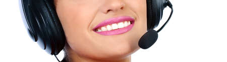 Closeup portrait of a happy young call centre employee smiling Stock Photo - 12082528