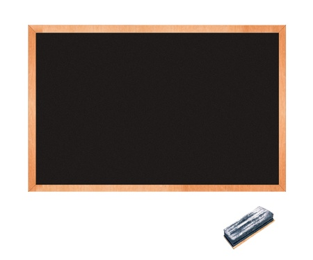 empty blackboard with wooden frame and chalks photo