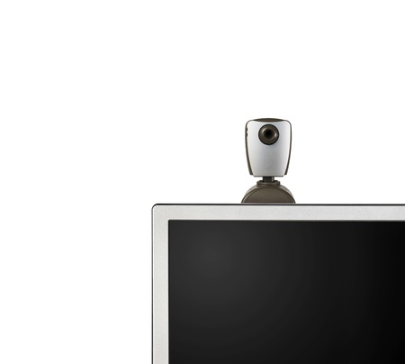 web camera on monitor isolated on white photo