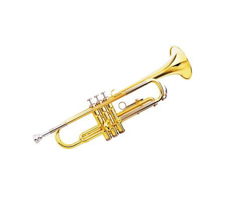 gold lacquer trumpet on white background Stock Photo - 12401873