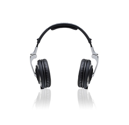 Black Headphones Isolated on a White Background photo