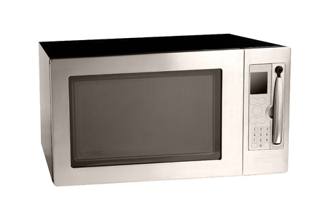 microwave oven oven shot over white photo