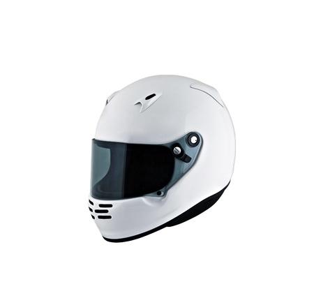 casco de moto: casco de la motocicleta sobre el fondo blanco, estudio aislado.