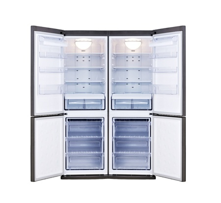 freezer: modern refrigerator with open doors isolated on white background