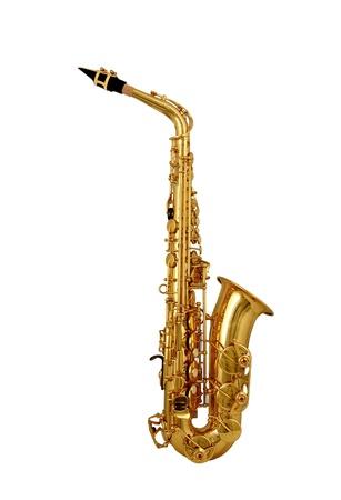 saxof�n: Saxof�n aislados sobre fondo blanco Foto de archivo