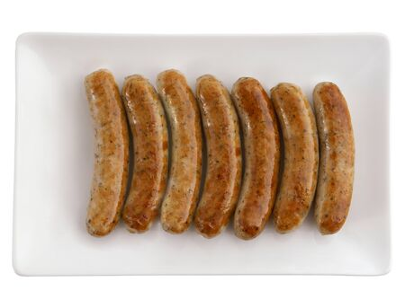 Roasted sausages on white plate and beer photo