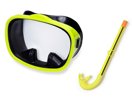 Snorkel and mask for diving isolated on white Stock fotó
