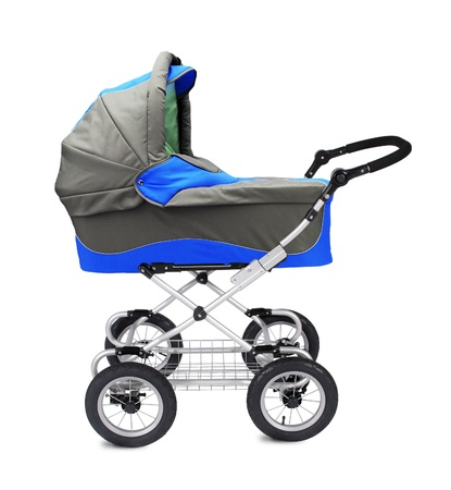 A modern pram isolated on white backgrond photo