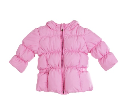 winter jacket: Bright childrens pink jacket on white background Stock Photo