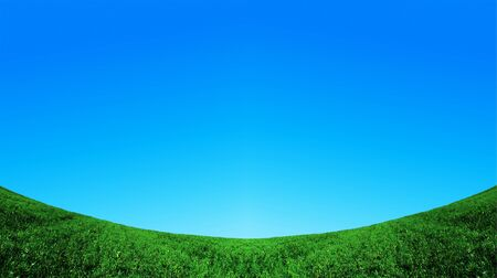 green field and blue sky background photo
