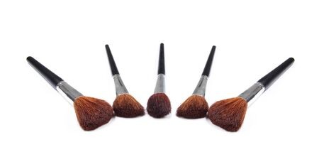 Professional make up and powder brushes isolated on white photo