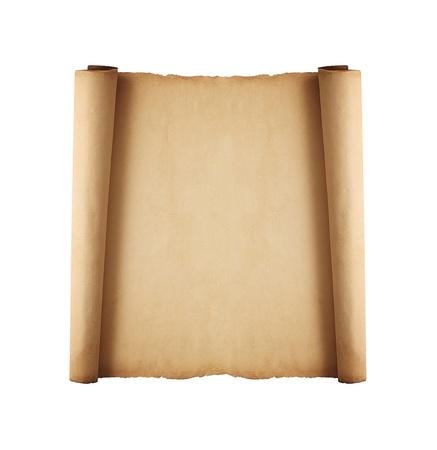 scroll?: desplaza el papel viejo aislados sobre fondo blanco Foto de archivo