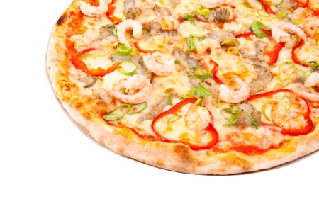 pizza with shrimps isolated photo