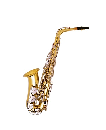 nice golden saxophone isolated on white background photo