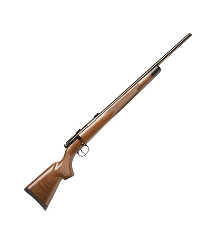 cocked: vintage gun isolated on white background Stock Photo