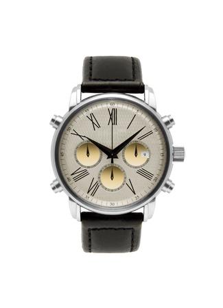 wristwatch: luxury silver man watch against white background Stock Photo
