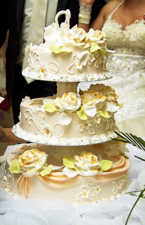 Beautiful wedding cake at a wedding reception photo