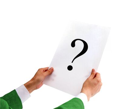 businessman holding a white paper with a question mark Stock Photo - 13173776