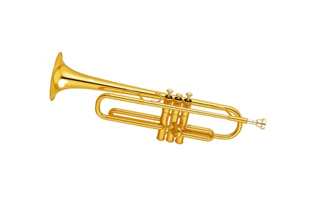 Golden trumpet isolated Stock Photo - 13657442
