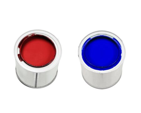 Red and blue paint isolated on white background photo