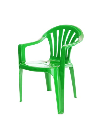 isolated green chair on white photo
