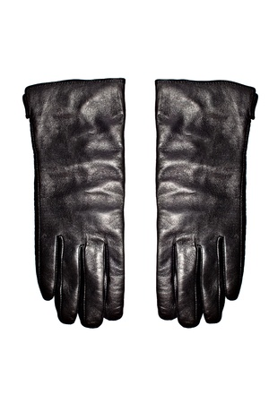 Black leather gloves isolated on the white background Stock Photo - 14062841