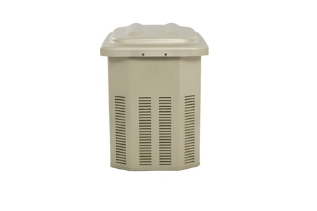 beige plastic trash on a white background photo