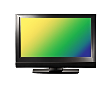 fullhd: Modern TV lcd, led with colorful screen isolated on white
