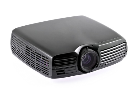 Multimedia black projector isolated on white background photo