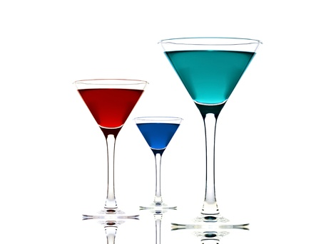 three cocktail glass isolated on white background photo