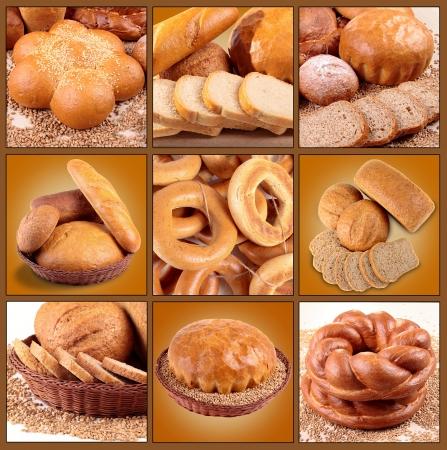 буханка: коллаж из ассортимента хлебом Фото со стока