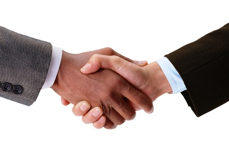 Hand shake between a businessman and a businesswoman isolated photo