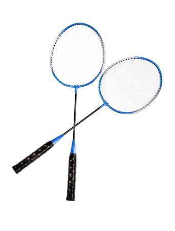 Badminton rackets close up isolated on white background Stock Photo - 14060494