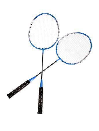 Badminton rackets close up isolated on white background Stock Photo - 14060494