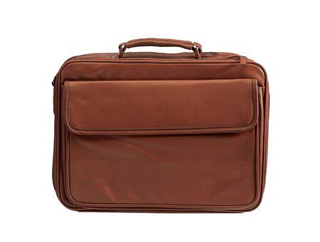 attache: Leather brown briefcase Stock Photo