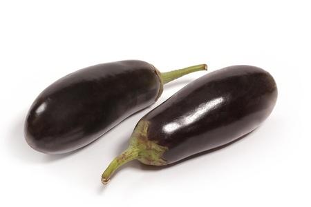 eggplants isolated on white background close up photo
