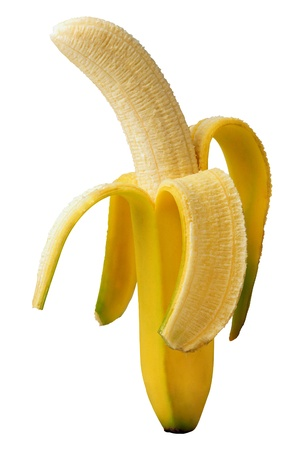 platano maduro: Banano Open aislado en un fondo blanco
