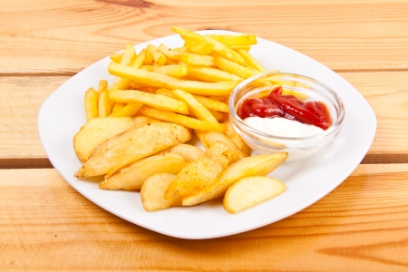 ketchup and potato fry photo