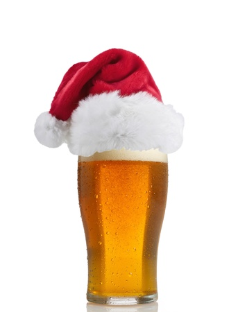 Santa Claus hat with beer Stock Photo - 14060603