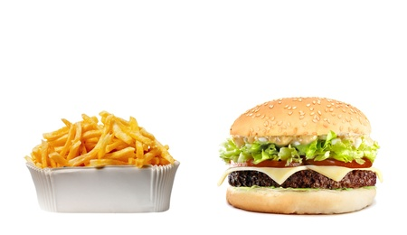 cheeseburger with fries: Delicious  with fries Stock Photo