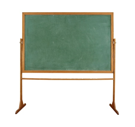 close up of an empty school chalkboard on white photo